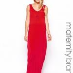 robe droite longue maternite rouge debardeur