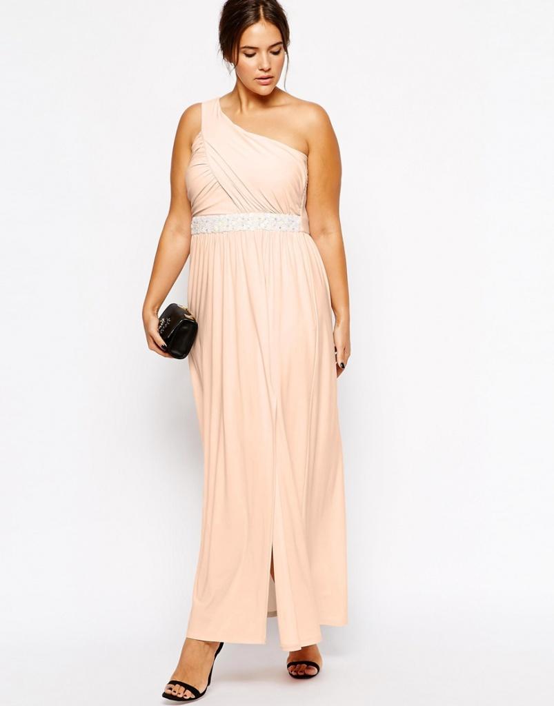 robe ete rose beige ceremonie longue grande taille
