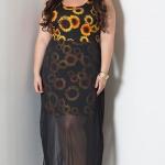 robe femme grande taille mode longue voile imprime tournesol