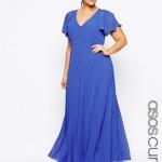robe fluide longue cocktail xxl bleu manche courte