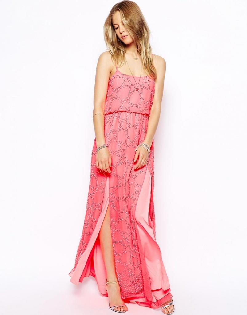 robe fluide rose fendue longue ete asos