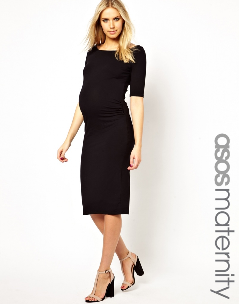 robe habillee longue grossesse hiver noire