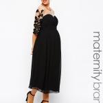 robe habillee longue grossesse transparente sur les manches et decollete