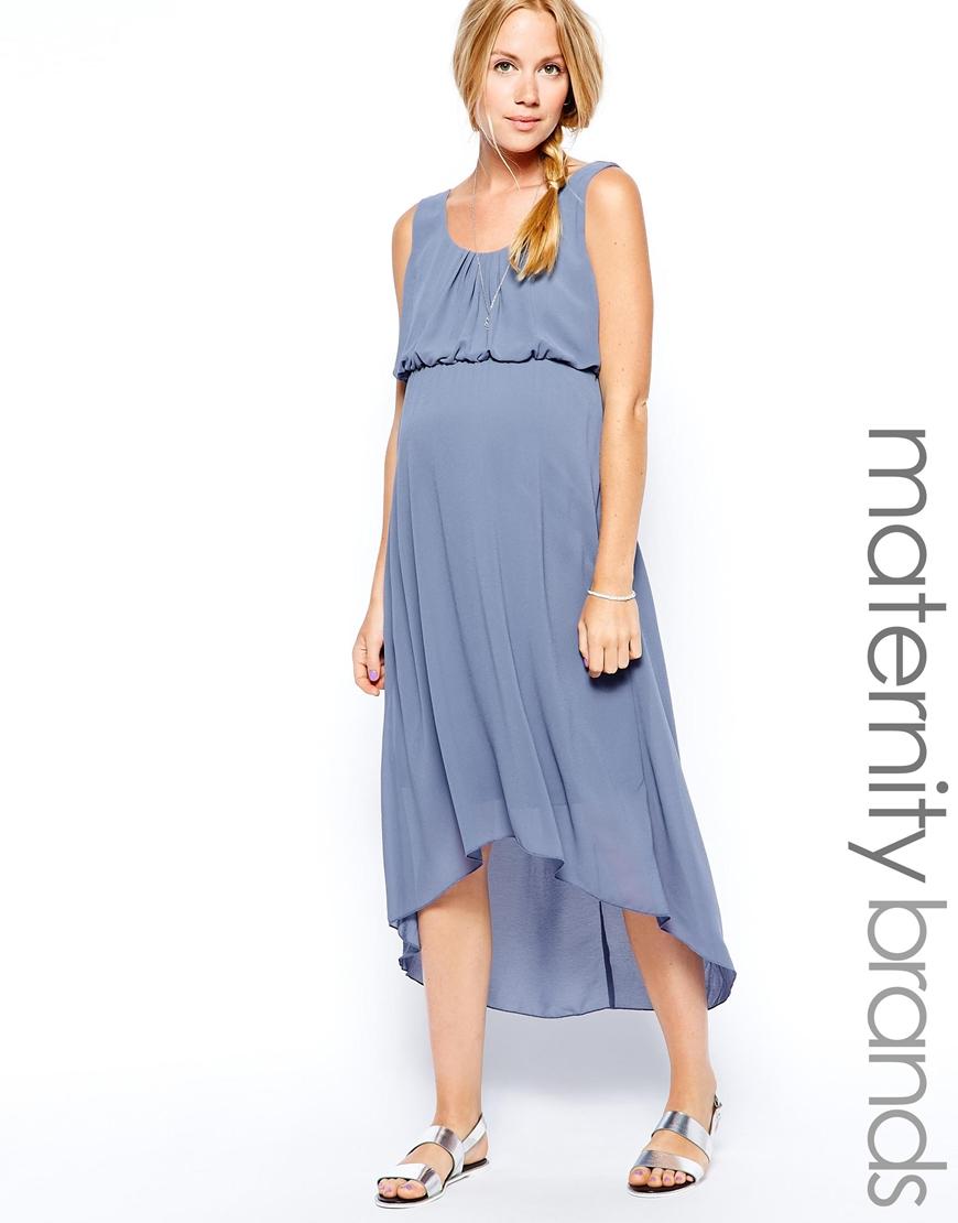 robe longue asymetrique femme enceinte  bleu fluide