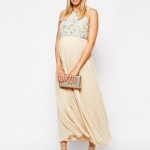 robe longue beige perle grossesse ceremonie