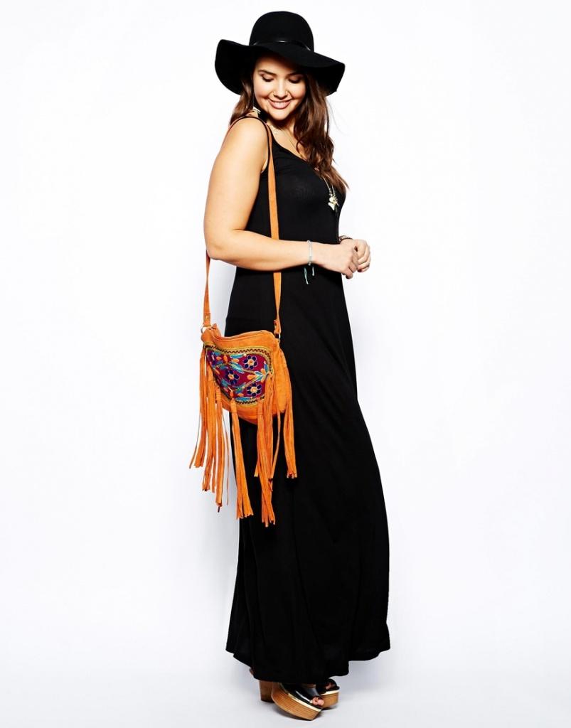 robe longue chic hippie grande taille noire a bretelle