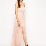 robe longue cocktail beige fendue devant