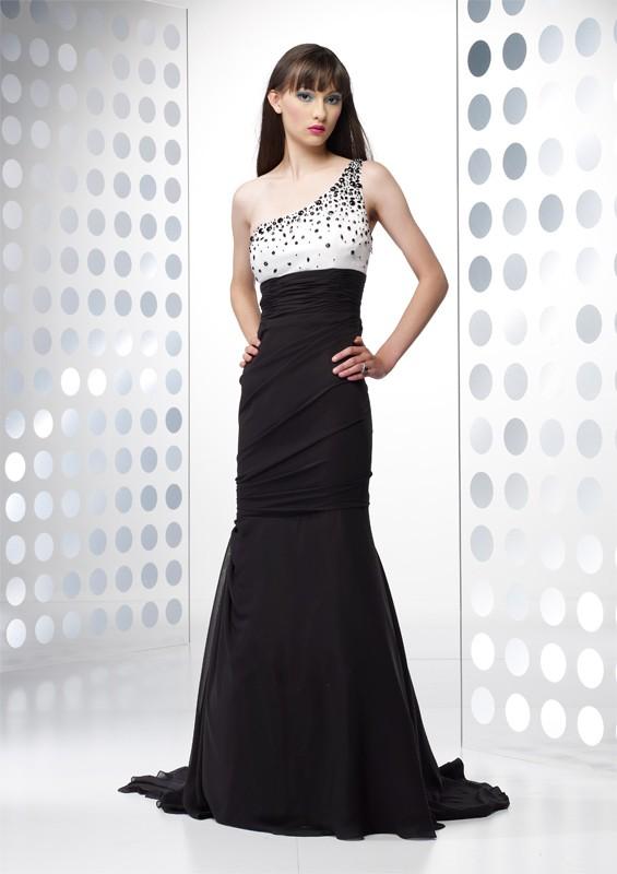 robe longue cocktail chic bicolore argente et jupe noire maxi longueur