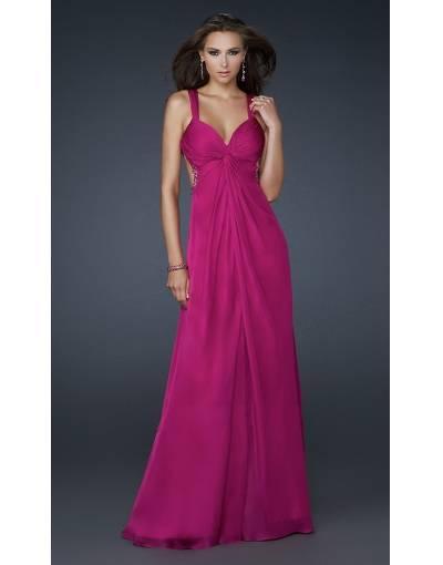 robe longue cocktail ete fine bretelle rose fonce