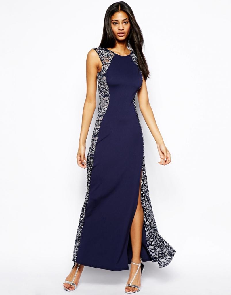 robe longue cocktail femme bi matiere bleu nuit et gris dentelle