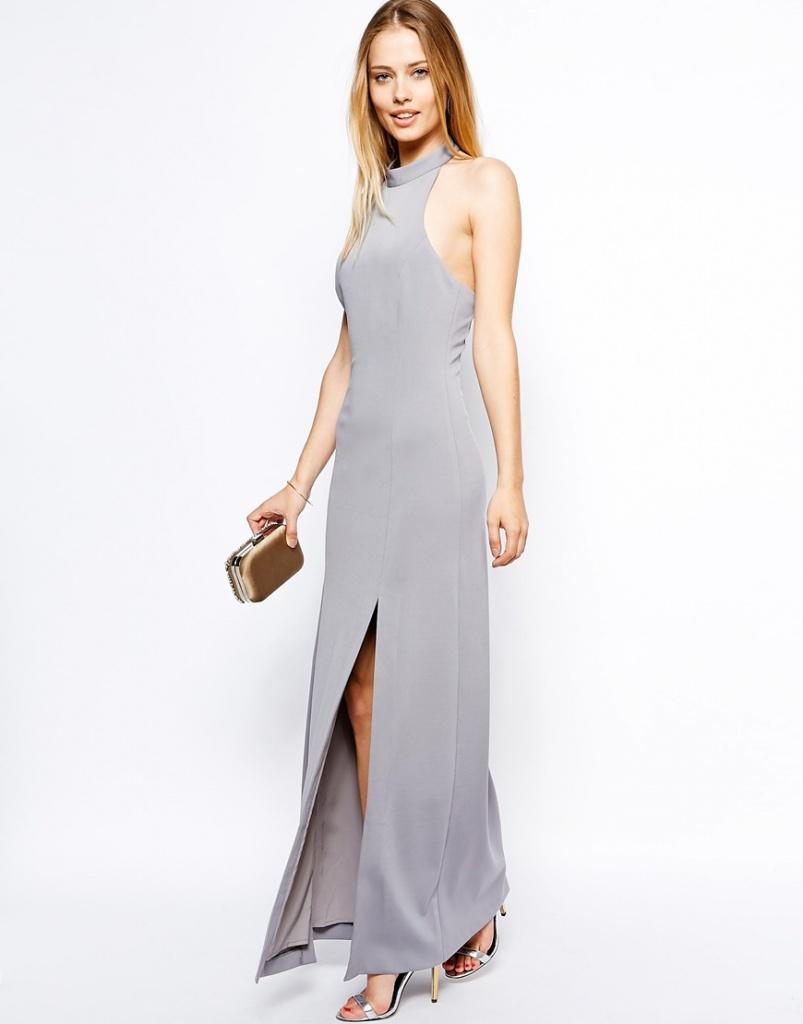 robe longue cocktail grise sans manche ras de cou et fendue