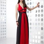 robe longue cocktail rouge noire fine bretelle