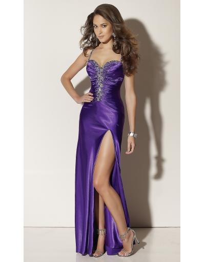 robe longue cocktail soiree esprit lingerie nuisette tres fendue violette