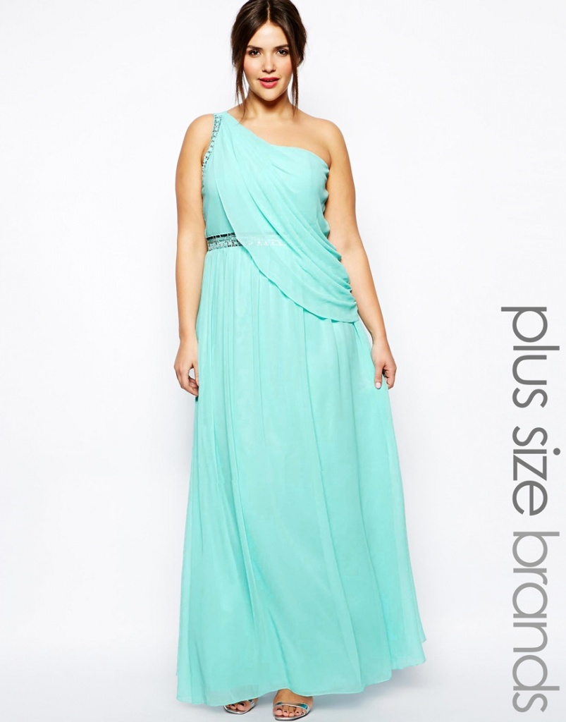 robe longue cocktail turquoise grande taille effet drape vestale