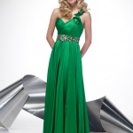 robe longue cocktail verte bretelle asymetrique