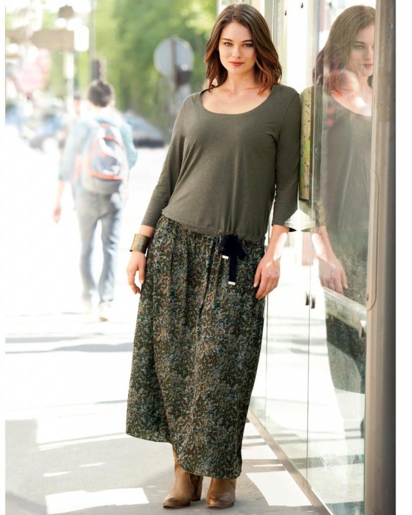 robe longue coton grande taille bicolore haut uni manche longue bas imprime
