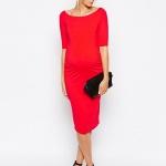 robe longue de grossesse habillee rouge manche dessus coude