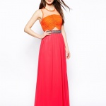 robe longue de soiree cocktail orange et rose originale