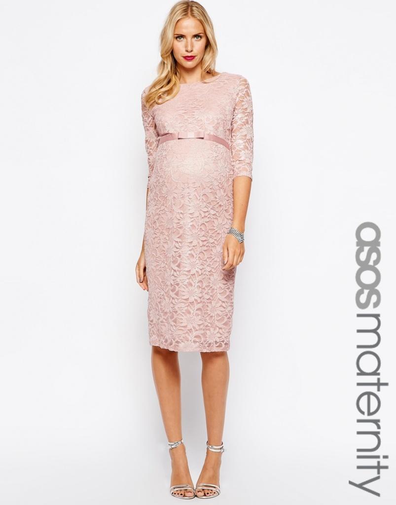 robe longue dentelle rose pale femme enceinte