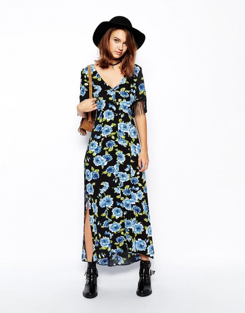 robe longue ete avec manche courte noire a fleur bleue