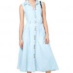 robe longue ete coton bleu pastel