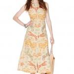 robe longue ete coton sans manche imprime animal jaune orange kaki
