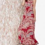 robe longue ete fleurie rouge bretelle large