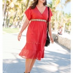 robe longue ete grande taille rouge a volants et voile
