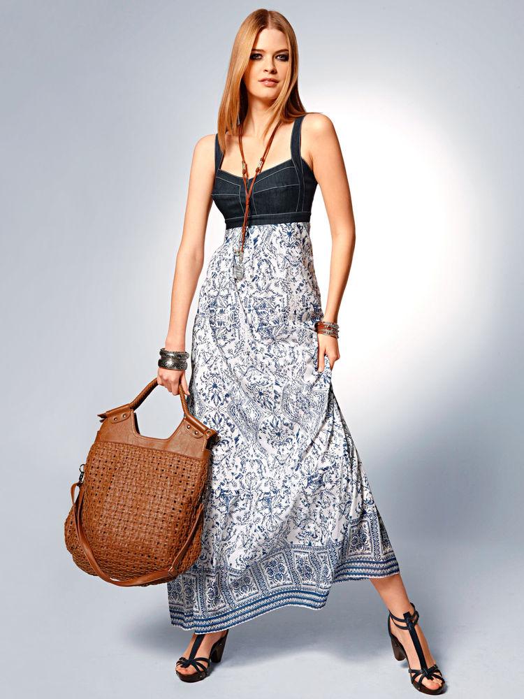 robe longue ete imprime et bustier jean