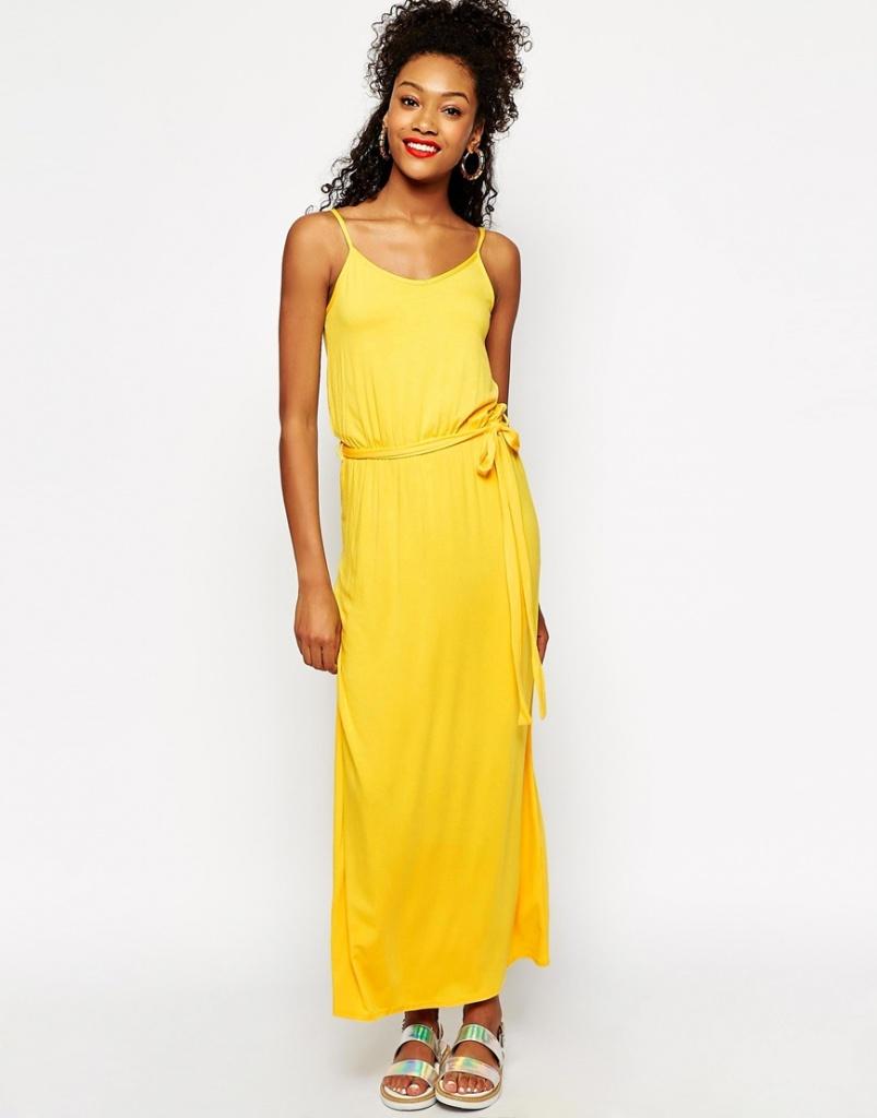 2c77ab7a822c8 robe longue ete jaune petite ceinture - la robe longue