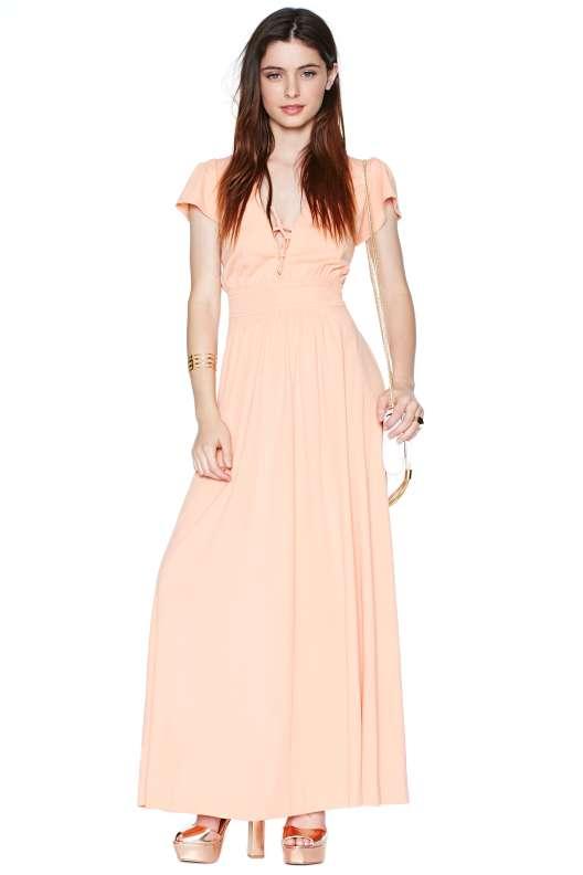 robe longue ete mariage manches courtes pastel