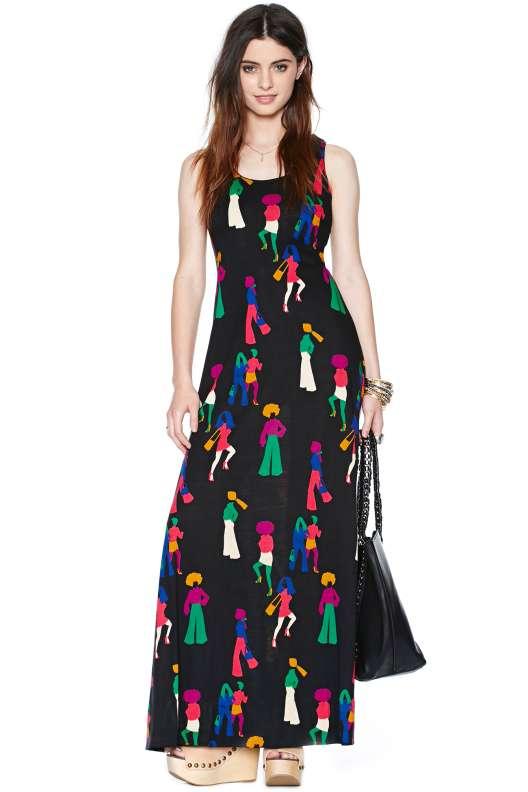 robe longue ete noire imprime silhouette original