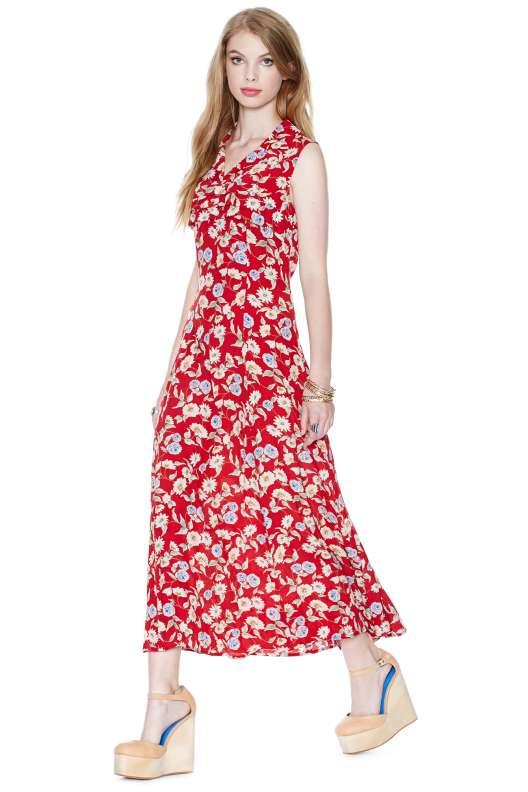robe longue ete rouge imprime frais