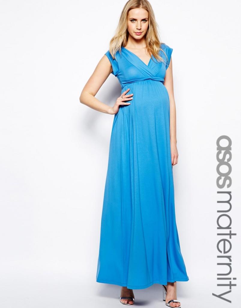 robe longue femme enceinte bleu taille haute pour ceremonie