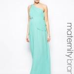 robe longue femme enceinte bretelle asymetrique bleu aqua