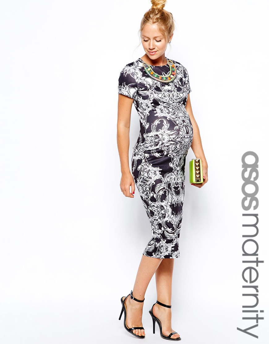 robe longue femme enceinte imprime noir et blanc habillee la robe longue. Black Bedroom Furniture Sets. Home Design Ideas