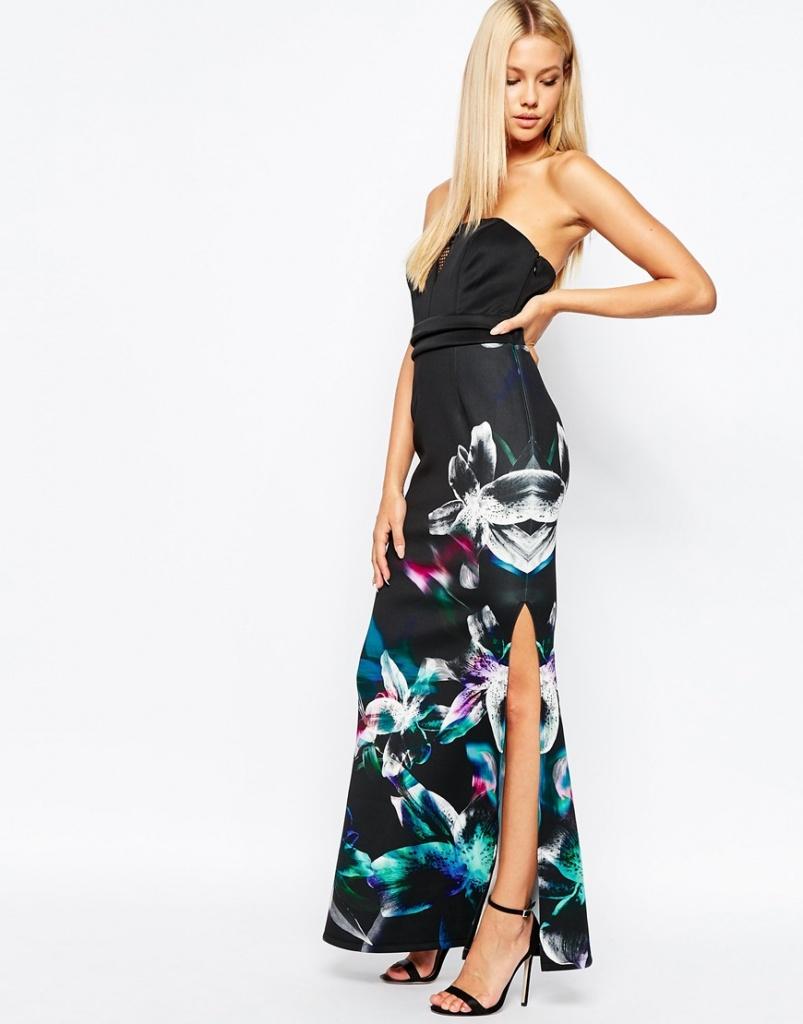 robe longue fendue ete noire habillee