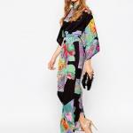 robe longue fluide ete manches kimono noire beau motif