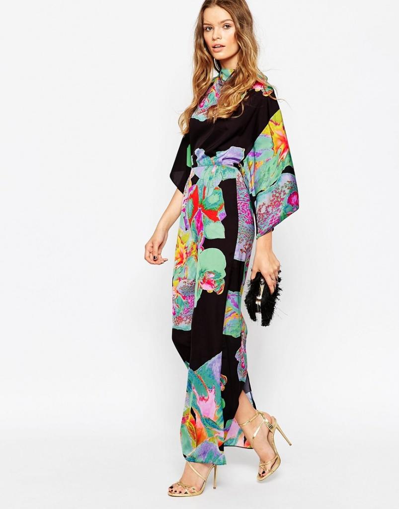 magasin meilleurs vendeurs info pour sélectionner pour l'original robe longue fluide ete manches kimono noire beau motif - la ...