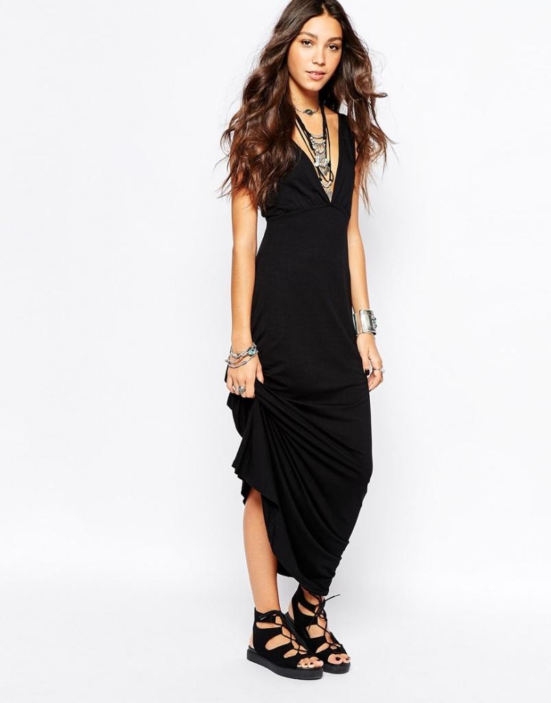 robe longue fluide ete noire habillee