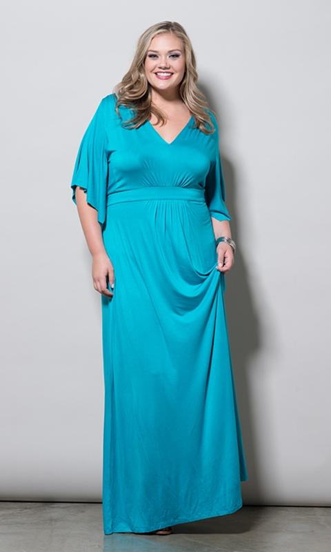robe longue grande taille 46 bleu manches mi longues