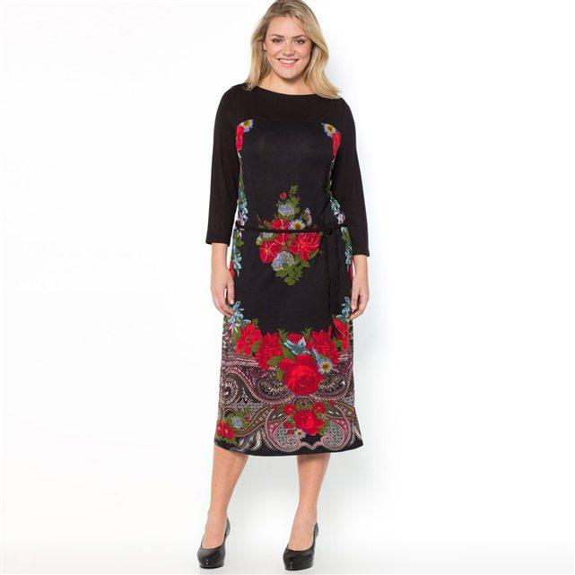robe longue grande taille 46 soldee noire et imprime rose rouge