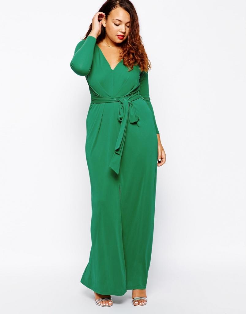 robe longue grande taille 46 verte manches longues et ceinture