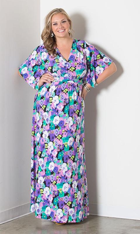 robe longue grande taille 48 manche mi longues imprime fleur