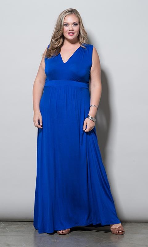 robe longue grande taille 50 bleu sans manche ceinturee