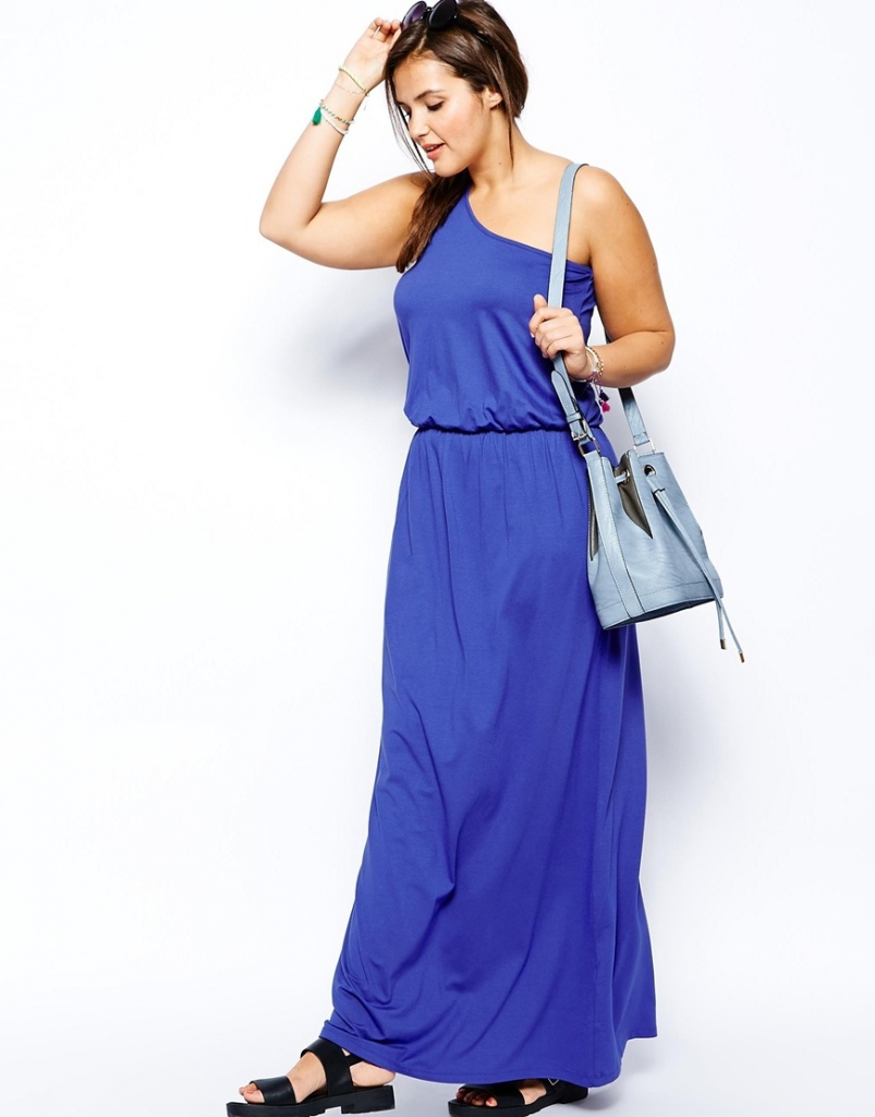 robe longue grande taille 54 bleu manche asymetrique