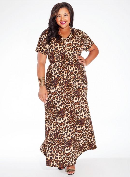 robe longue grande taille 56 manche courte imprime leopard