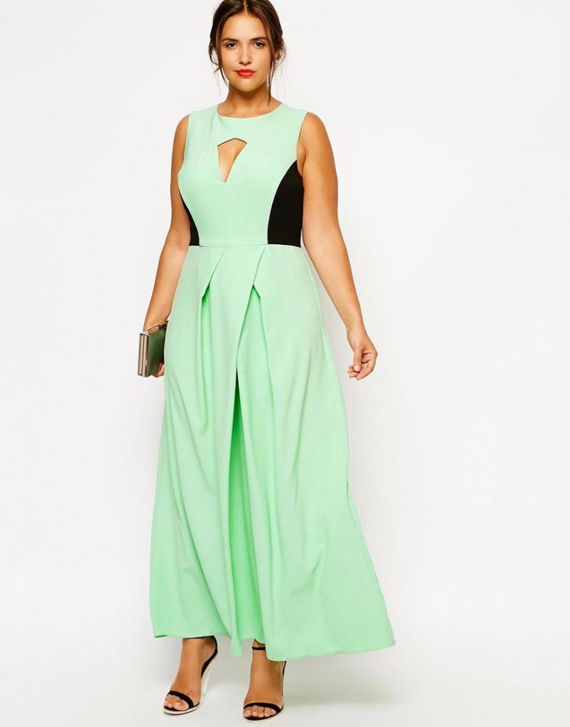 robe longue grande taille chic bicolore vert clair et noir originale