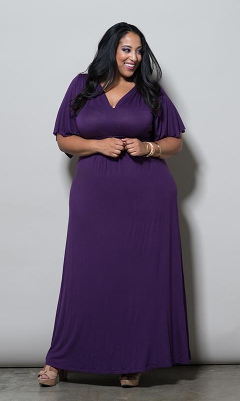 robe longue grande taille de soiree violette manches courtes