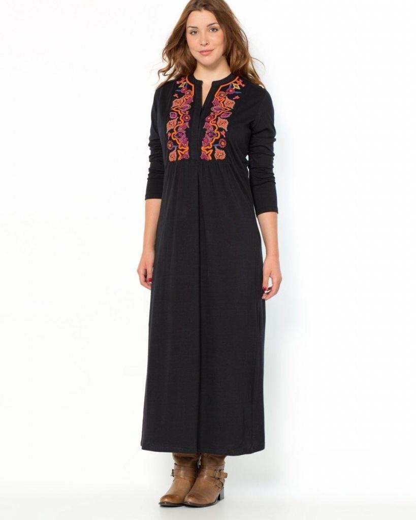 robe longue grande taille droite boho manche 3 4